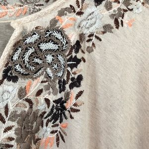 Free People bell sleeve embroidered boho blouse